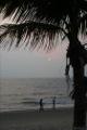 Plage, cocotier, et soleil couchant sur la mer de Chine
