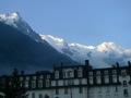 D�part de Chamonix au petit matin. Vue sur le Mont Blanc :-)